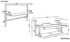 DIY Slim Twin (Single) Do-It-Yourself Mechanism, Plans Drawings, & Assembly Instructions Murphy Bed Desk, Murphy Bed Plans, Fold Up Wall Bed, Study Bed, One Room Apartment, Apartment Therapy, Murphy-bett Ikea, Tyni House, Van Bed