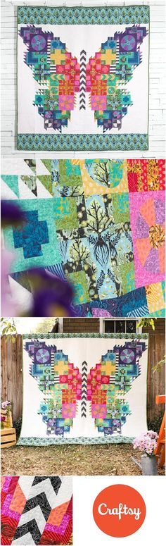 Butterfly Quilt Kit featuring FreeSpirit True Colors by Tula Pink.  Don't flutter by this amazing kit! The Butterfly Quilt Kit from   FreeSpirit includes a pattern and sensational Tula Pink fabric, to sew   this distinctive design. Featuring whimsical pri