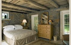 barn bedroom-stone walls