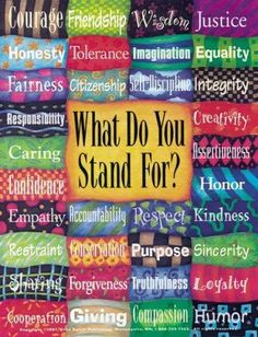 Courage , friendship,wisdom,justice,honesty,tolerance ,imagination,equality,fairness,integrity,self discipline creativity,responsibility,care,assertiveness,honor,confidence ,empathy,respect,loyalty,humor,compassion,sharing conservation,purpose,accountability,forgiveness,truth,cooperation