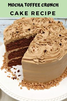 You are going to fall in love with this AMAZING homemade Mocha Toffee Crunch Cake! It's a fantastic blend of chocolate, espresso, and toffee flavors. Ultra moist and always a crowd pleaser! Baking Recipes, Cake Recipes, Dessert Recipes, Food Cakes, Cupcake Cakes, Cake Cookies, Cappuccino Torte, Crunch Cake, Savoury Cake