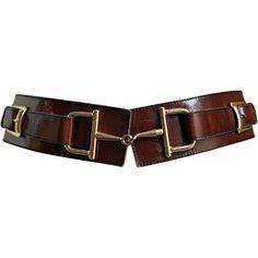 Celine - CELINE brown leather belt with gilt horse-bit hardware ❤ liked on Polyvore
