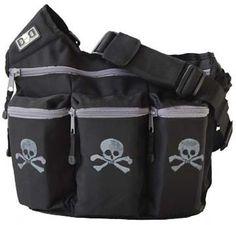 Cool Punk Rock Diaper Bag: Black with Grey Skulls