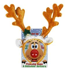 Reindeer Antlers and Light-up Blinking Rudolph Flashing Nose Set - One Size Fits All this Christmas Holiday for only $8.95