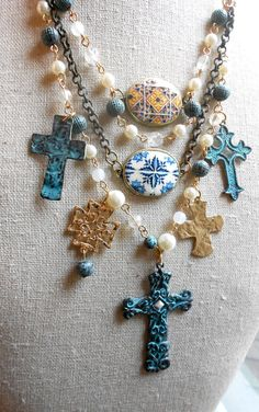 Portugal Azulejos and Crosses Tile Replica Assemblage by Atrio