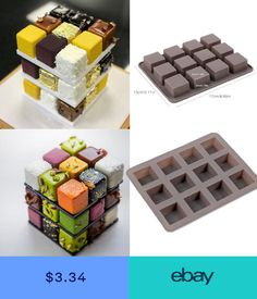 12 Holes Square Chocolate Cake Mold Rubiks Cube Pudding Mold Ice Mold DIY The Effective Pictures We Offer You About chocolate wedding cake pink A quality picture can tell you many things. You can find Chocolate Cake Designs, Chocolate Diy, Chocolate Decorations, Chocolate Covered, Chocolate Pudding, Chocolate Molds, Mini Cakes, Cupcake Cakes, Mousse Dessert