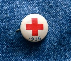 """50 year Anniversary Pin. Vintage 1936 RED CROSS Pin-Back Button 5/8"""""""
