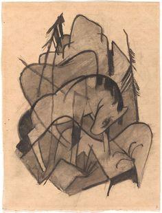 """Horse"", 1913, Franz Marc (1880-1916) | AIC Franz Marc, Emil Nolde, Art Institute Of Chicago, Wassily Kandinsky, Horses, Expressionism, Artwork, Tattoo, Paper"