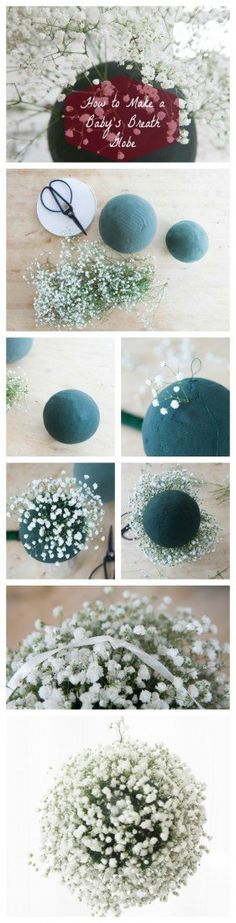 babes breath globes! What You'll Need : Foam Globes / Ribbon / Flora Wire / Scissors / Baby's Breath / Water