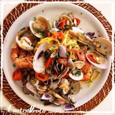 Tagliolini con frutti di mare, home made pasta with seafood, italy style kitchen, ControVento fregene, rome