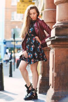 Fashion London Soho Photo shoot Street portrait dress boots Covent Garden leather jacket china town