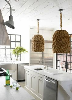 Coastal kitchen with wicker shade pendant lights