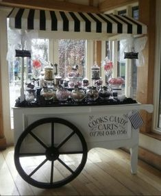 This Essex based company specialise in bringing something a li?ttle bit different to your special wedding day event by bringing along their stylish candy cart with lots of delicious nibbles for your guests to enjoy. Candy Table, Candy Buffet, Bar Deco, Sweet Carts, Ice Cream Cart, Candy Cart, Flower Cart, Dessert Buffet, Wedding Candy