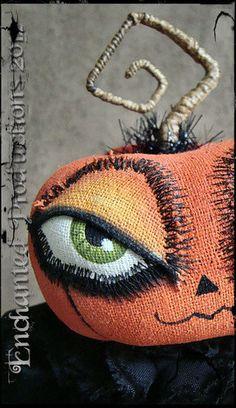 OOAK Pfatt Primitive Folk Art Halloween Goth Pumpkin Doll Joyce Stahl Ehag | eBay