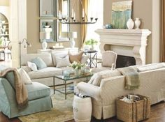 blue and tan living room