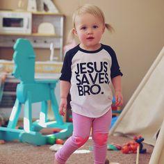 Jesus saves, bro infant baseball tee – riley clay