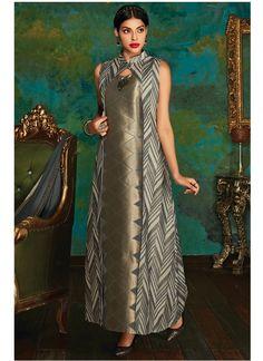 Shop Online Beige Grey Banarasi Silk Brocade #LongLengthSalwarSuit @chennaistore.com