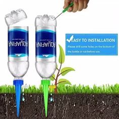 8 Pcs/set Automatic Watering Spikes Plant Water Funnel – Best Garden Plants And Planting Empty Bottles, Recycle Plastic Bottles, Water Storage Containers, Small Space Interior Design, Bottom Of The Bottle, Green Suit, Self Watering, Different Plants, Diet Coke
