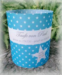 Gastgeschenke - 4 x Windlicht Tischlicht Deko Taufe Name Sterne - ein Designerstück von card-ya bei DaWanda