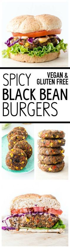 Vegan & Gluten Free. 'Spicy Black Bean Burgers'. Thick & firm, they hold together perfectly! Scrumptiously tasty, easy & healthy veggie burgers. Reliable for summer cookouts and parties, to impress even the most skeptical of guests. #vegan #blackbean #burger