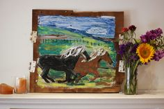 """Warmblood Horses Painting """"Winchester and Alley"""" on reclaimed wood from a torn down barn in Michigan by artist Micah Sawinski"""