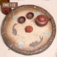 ONEICE Free Shipping All Handmade Purple clay Tea Tray Ceramic Stone Fish  Sea Ship Large Round Drain Chinese Stone Gongfu Style #Affiliate