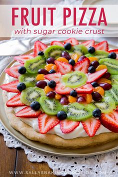 You can't beat a classic! This colorful, delicious fruit pizza has the works and… You can't beat a classic! This colorful, delicious fruit pizza has the works and is baked on my soft sugar cookie crust. Dessert Pizza, Fruit Pizza Cups, Fruit Pizza Frosting, Mini Fruit Pizzas, Easy Fruit Pizza, Sugar Cookie Fruit Pizza, Cookie Desserts, Fruit Cookies, Party Desserts