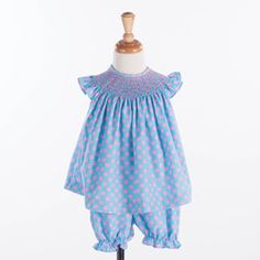 Aqua Pink Dot Smock Flutter Bloomer Set