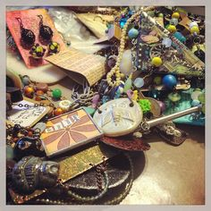 Today I'm making tough decisions: should it stay or should it go (be taken apart). So many tough decisions. #jewelry #handmadejewelry #handmade #artbeads #pile #organization #thebusinessofart #colorful #beads #wire #necklaces #bracelets #earrings #rings