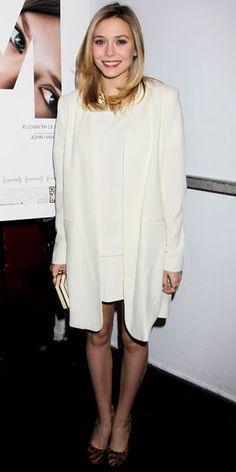Elizabeth Olsen in all-white (almost)
