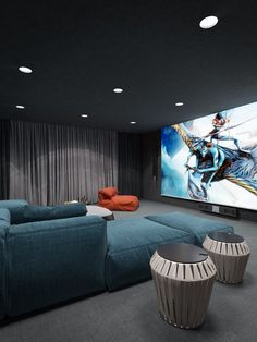 Home theaters interior Awesome Basement Heimkino-Design-Ideen - Luxus-Interieur, Movie Theater Rooms, Home Cinema Room, Home Theater Decor, Home Theater Seating, Home Theater Design, Home Decor, Theatre Rooms, Home Theaters, Home Cinemas