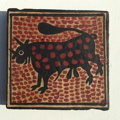 Rustic handmade ceramic tile featuring a bull. The bull is the heraldic symbol of the Borgia family who originated from Valencia.  Contessa Ceramica hand-painted tiles are inspired by Socarrats, from the Valencian region of Spain, the originals dating from the 14th to 16th centuries. Size 4 ...