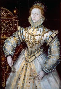Queen Elizabeth I, c. 1580.  Artist Unknown. (Paint has turned blue)  © Reading Museum.