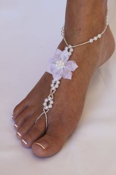 Amazon.com: Barefoot Sandals Foot Jewelry Pearls and Flowers: Everything Else