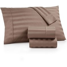 Aq Textiles Bergen Stripe Certified Egyptian Cotton 1000-Thread Count... ($380) ❤ liked on Polyvore featuring home, bed & bath, bedding, bed sheets, light tan, stripe sheet set, stripe bedding, 1000 thread count king sheet set, egyptian cotton sheet sets and king sheet set