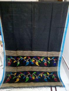 Bengal Handloom noil saree with ghicha stripes & jamdani woven pallu