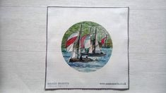 Annie Morris Embroidery Color Printed Linen Panel, DARTMOUTH SAIL BOATS