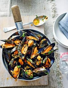 Seafood is in season for October. These mussels with chorizo, almonds and parsley look delicious.