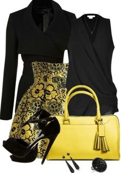 LOLO Moda: Unique yellow fashion for women - Elisabeth-Jeanne Gosselin - Herren- und Damenmode - Kleidung Komplette Outfits, Fashion Outfits, Womens Fashion, Fashion Trends, School Outfits, Trendy Fashion, Classy Outfits, Work Fashion, Fashion Looks