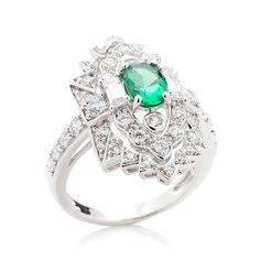 Xavier 1.53ct Absolute™ Simulated Emerald Shield Ring