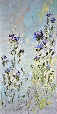 Oil original big painting flowers by ForestSandandAir on Etsy