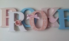 Wooden letters for nursery in pink and blue by SummerOlivias