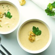 Jul 2019 - Healthy Creamy Roasted Cauliflower Soup Recipe - You'll love my EASY creamy roasted cauliflower soup recipe! Find out what the surprise ingredient is in healthy roasted cauliflower soup. Creamy Soup Recipes, Bean Soup Recipes, Healthy Soup Recipes, Lunch Recipes, Vegetarian Recipes, Cooking Recipes, Dinner Recipes, Roasted Cauliflower Soup Recipe, Creamy Cauliflower Soup