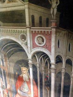 Agnolo Gaddi - La Leggenda della vera Croce: 3 - Sogno di Eraclio, imperatore di Bisanzio (dettaglio: Cosroe adorato dai suoi sudditi) - affresco - 1380 -1390 - parete sinistra Cappella Maggiore - Basilica Santa Croce, Firenze