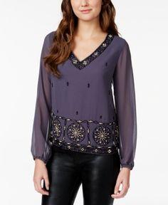 1920s style blouse. American Rag Embellished V-Neck Blouse Only at Macys $79.50 AT vintagedancer.com