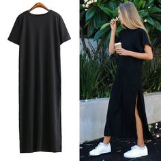 [TWOTWINSTYLE] Fashion Streetwear High Slit Long T-shirt Women Dress Loose Big Size Short-sleeved Black Summer New