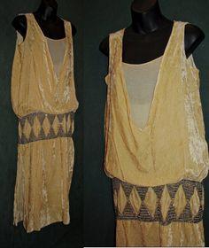 5c542b2ff60de 1920s Vintage Cream Velvet Drop Waist Dress w/Rhinestone & Beads Trim Slip  Belt Gatsby Flapper Free Domestic Shipping