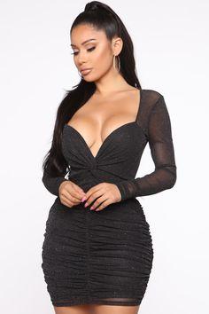 Taking Control Mini Dress - Black Hologram – Fashion Nova Black Dress Outfits, Sexy Dresses, Nice Dresses, Cute Outfits, Prom Dresses, Dress Black, Woman Dresses, Night Outfits, Chica Dark
