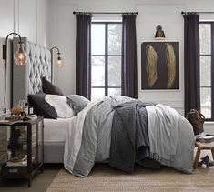Bring plush style and comfort to the bedroom with cozy bedding from Pottery Barn. Find quality down comforters and duvet covers in stylish colors and patterns. Grey Duvet, Grey Headboard, Linen Duvet, Grey Bed Linen, Pottery Barn Bedrooms, Pottery Barn Quilts, Tall Bed, White Duvet Covers, Ikea Duvet Cover