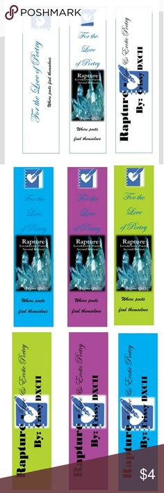 """For the Love of Poetry Bookmarks Free with the purchase of """"Rapture-Love&Erotic Poetry"""" 2nd edition. If you in to love and erotic poetry you should check it out. Purchase paperback book and contact me for a free bookmark of your choice. View Author's spotlight to get PDF book. http://www.lulu.com/shop/crissy-dxcii/rapture/paperback/product-23410960.html For the Love of Poetry Accessories"""